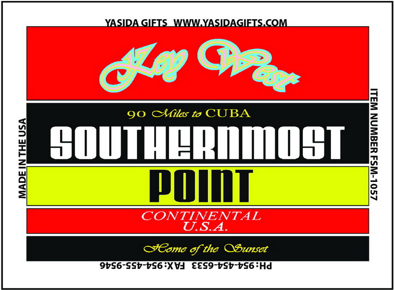 SOUTHERNMOST POINT STRIPES FLAT MAGNET 12PC * UOM: dozen (dz)* Minimum Order: 1